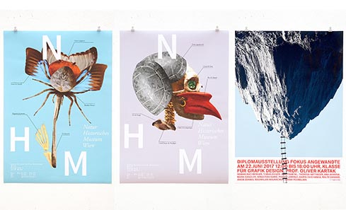 from left: (Fictional) Posters for NHM by Julie Guillem, Ejla Miletić; Fokus 17 by Mato Vincetić